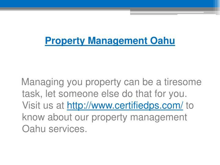 Property Management Oahu