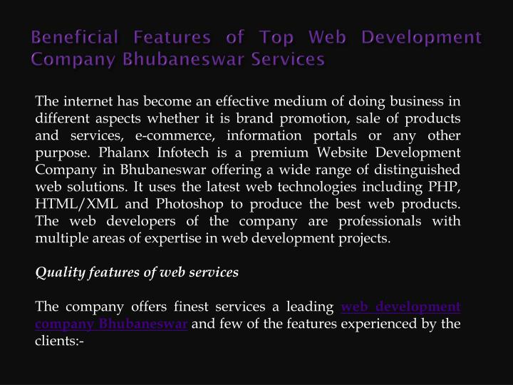Beneficial features of top web development company bhubaneswar services