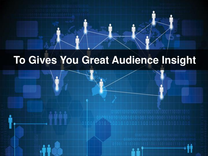 To Gives You Great Audience Insight