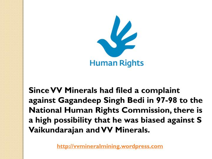 Since VV Minerals had filed a complaint against