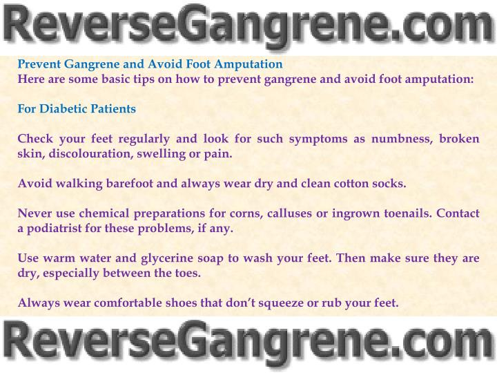 Prevent Gangrene and Avoid Foot Amputation