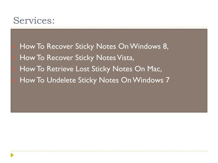 Services: