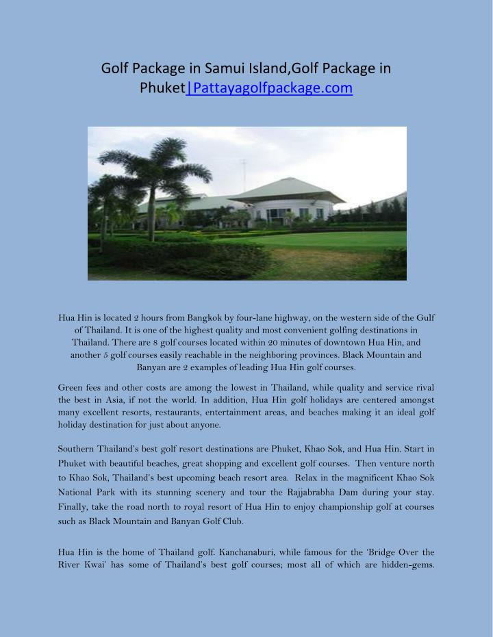 Golf Package in Samui Island,Golf Package in