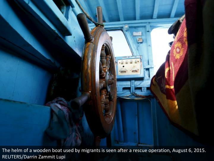 The helm of a wooden boat used by migrants is seen after a rescue operation, August 6, 2015. REUTERS/Darrin Zammit Lupi