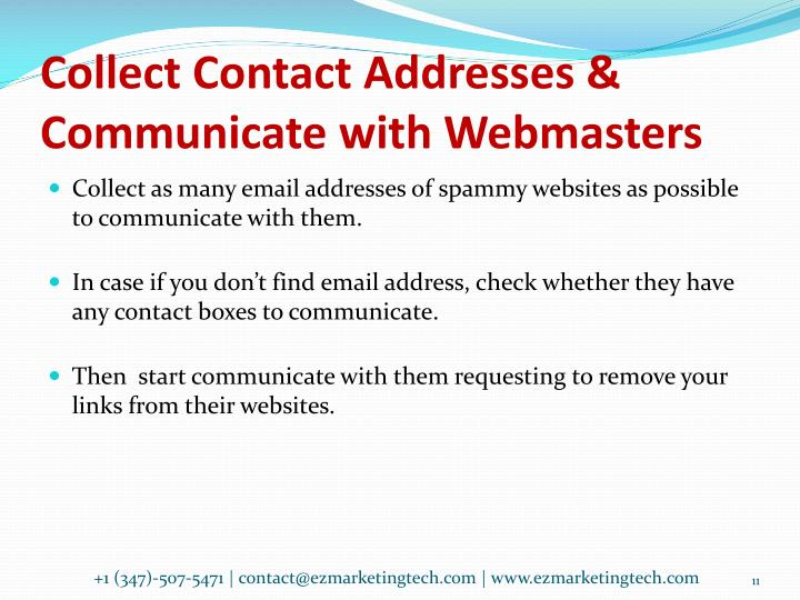 Collect Contact Addresses & Communicate with Webmasters