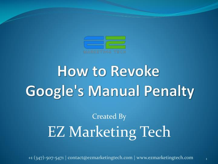 How to revoke google s manual penalty