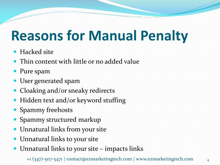 Reasons for Manual Penalty