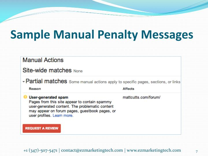 Sample Manual Penalty Messages