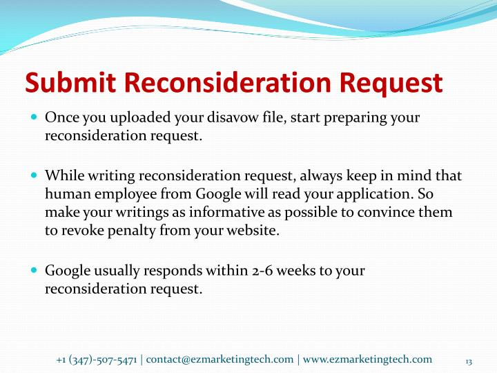 Submit Reconsideration Request