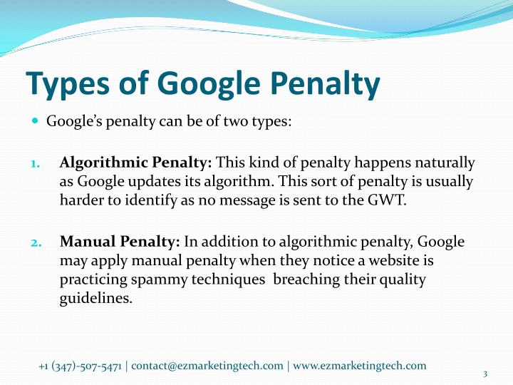 Types of Google Penalty