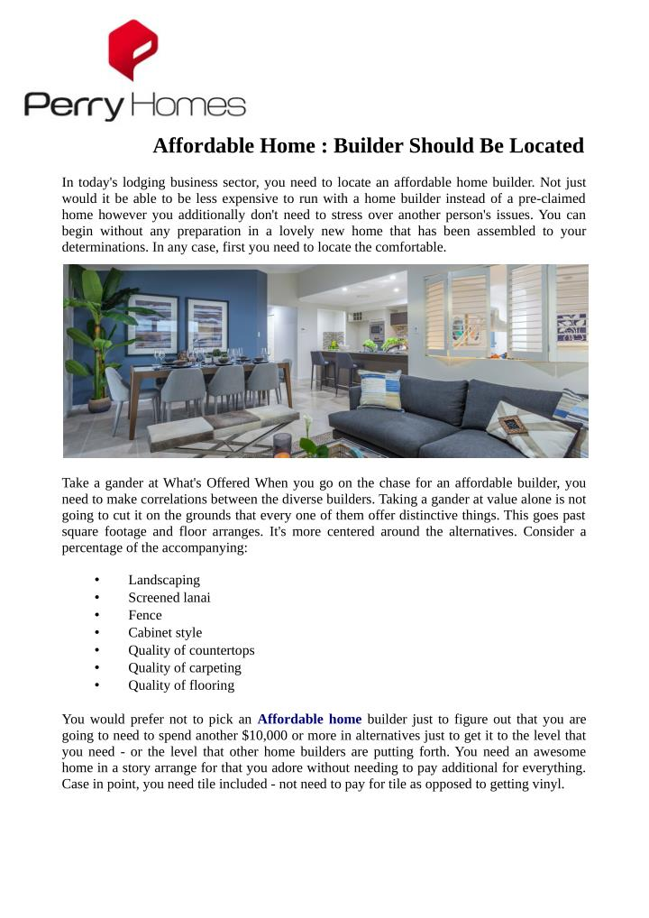 Affordable Home : Builder Should Be Located