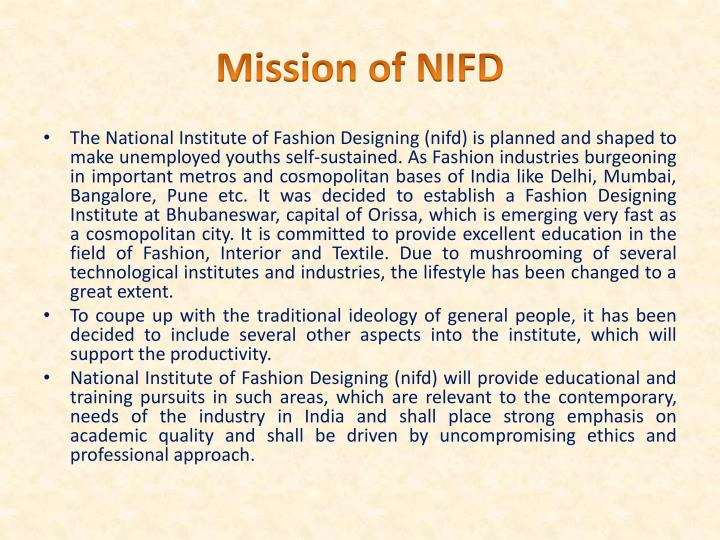Mission of NIFD