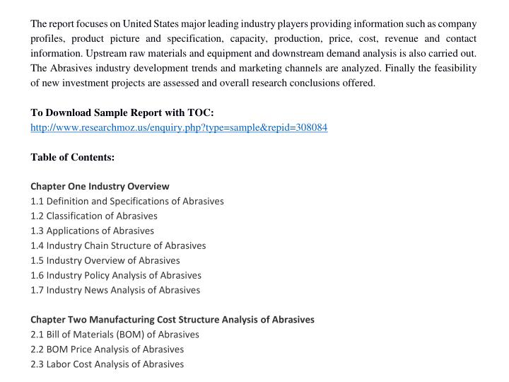 The report focuses on United States major leading industry players providing information such as company