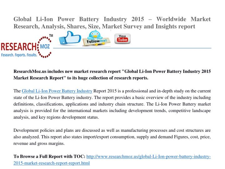 Global Li-Ion Power Battery Industry 2015
