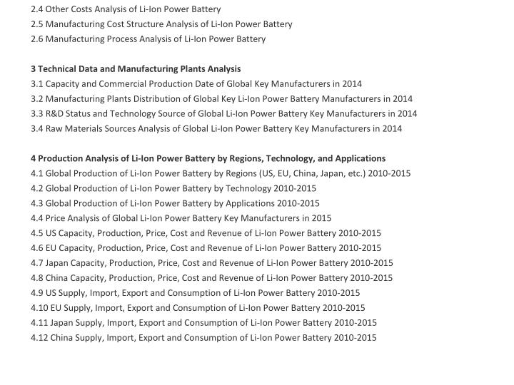 2.4 Other Costs Analysis of Li-Ion Power Battery