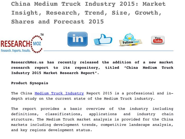 China Medium Truck Industry 2015: Market
