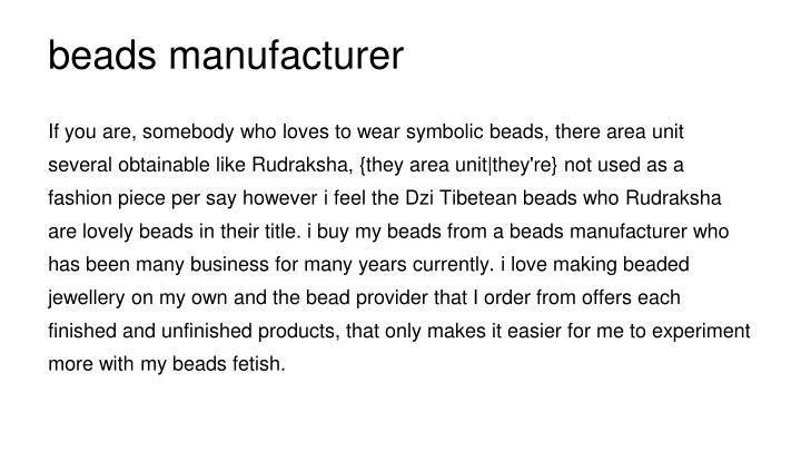 beads manufacturer
