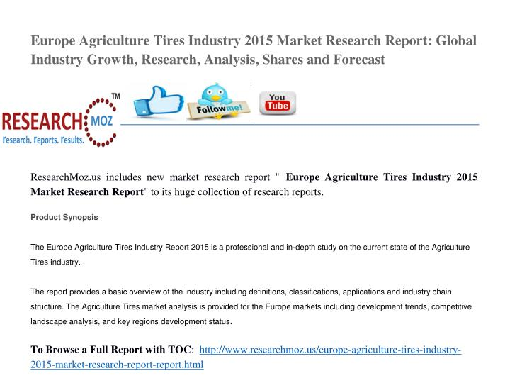 Europe Agriculture Tires Industry 2015 Market Research Report: Global