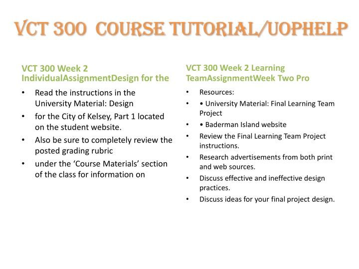 VCT 300  Course tutorial/