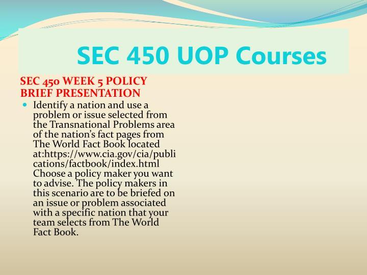 SEC 450 UOP Courses