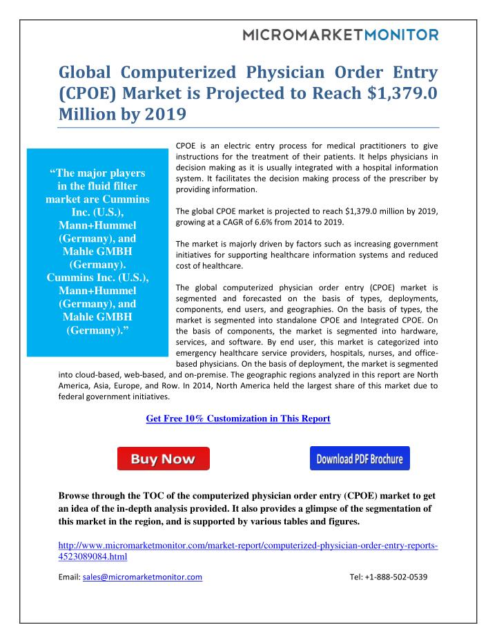 PPT - Global Computerized Physician Order Entry (CPOE) Market is ...