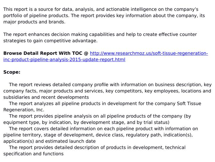 This report is a source for data, analysis, and actionable intelligence on the company's