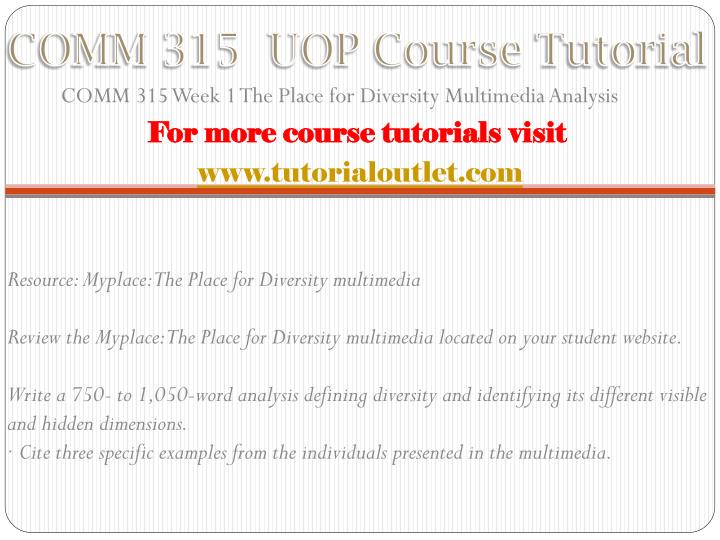 COMM 315  UOP Course