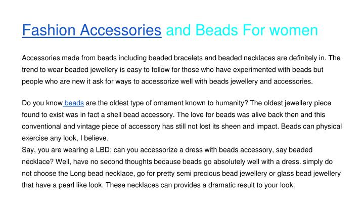 Fashion accessories and beads for women