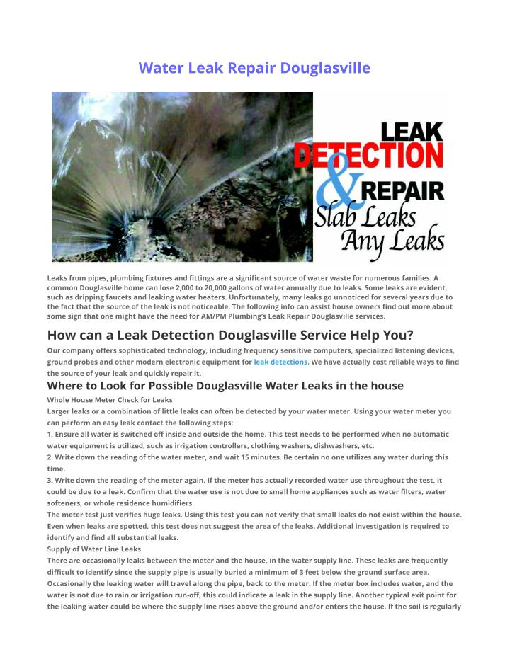 Water Leak Repair Douglasville