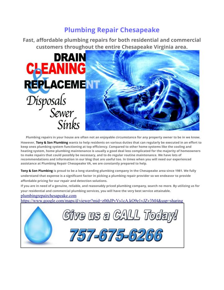 Plumbing Repair Chesapeake