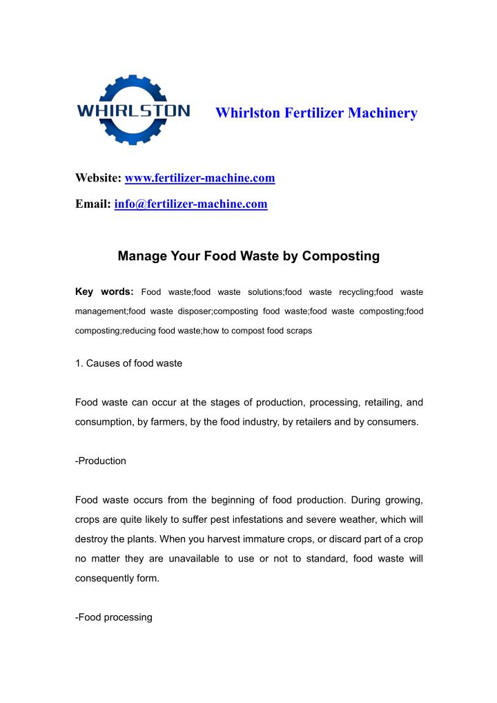 Whirlston Fertilizer Machinery