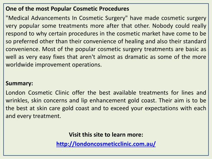 One of the most Popular Cosmetic Procedures