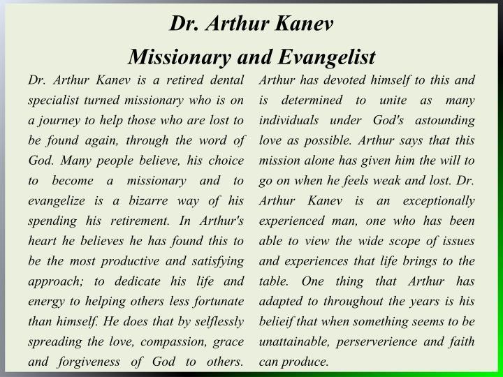 Dr. Arthur Kanev