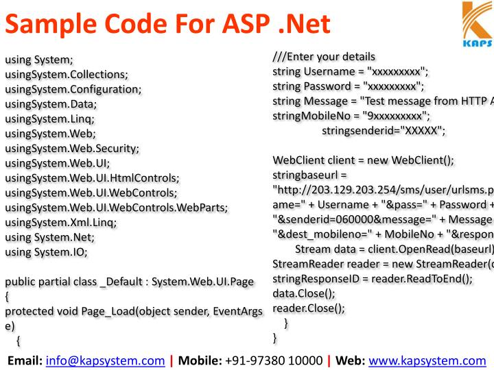 Sample Code For ASP