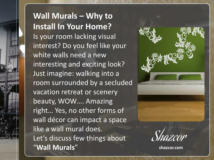 Wall Murals – Why to Install In Your Home?