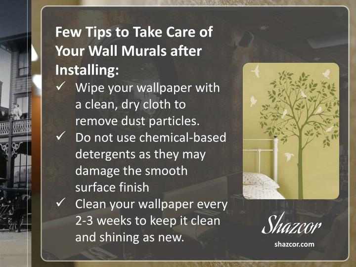 Few Tips to Take Care of Your Wall Murals after Installing: