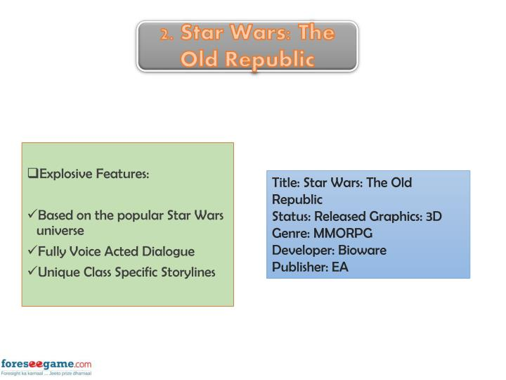 2. Star Wars: The Old Republic