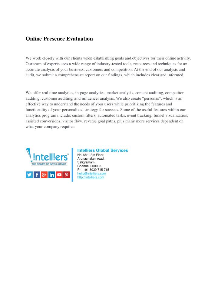 Online Presence Evaluation