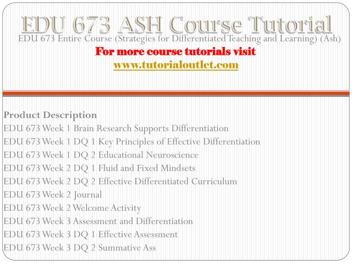 Edu 673 ash course tutorial