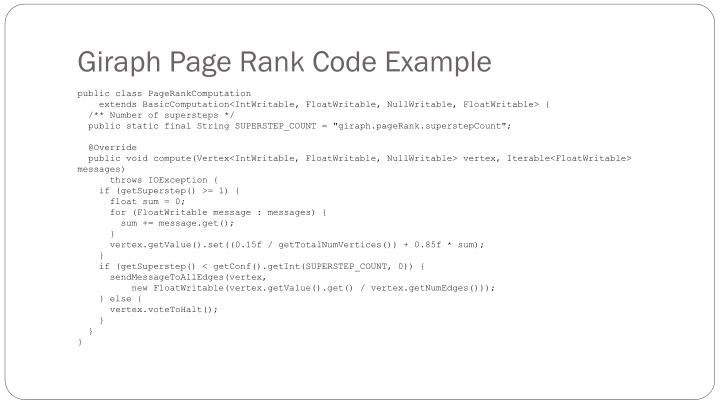 Giraph Page Rank Code Example