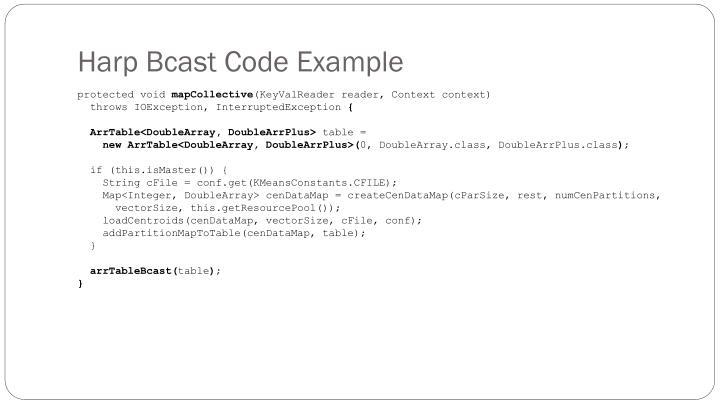 Harp Bcast Code Example