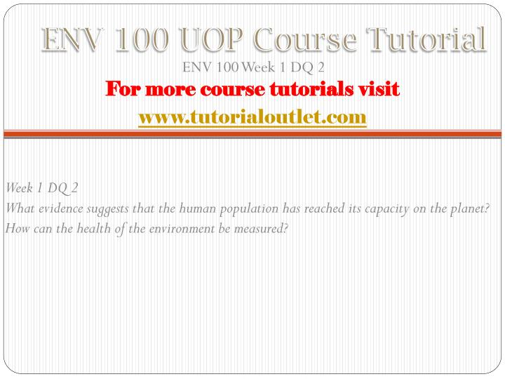 ENV 100 UOP Course