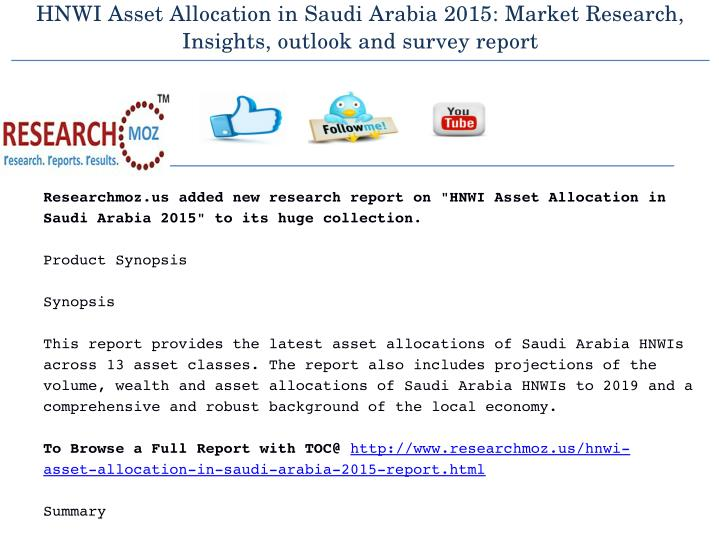 HNWI Asset Allocation in Saudi Arabia 2015: Market Research,