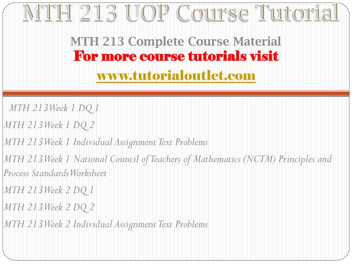 Mth 213 uop course tutorial