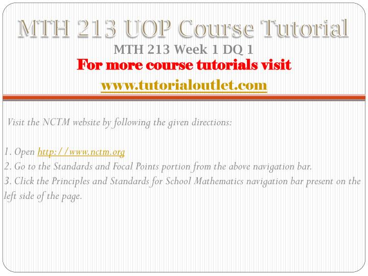 Mth 213 uop course tutorial1