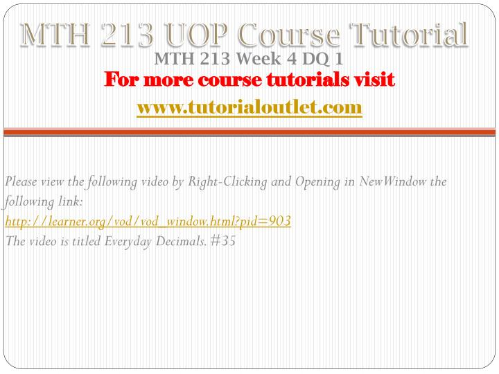 MTH 213 UOP Course