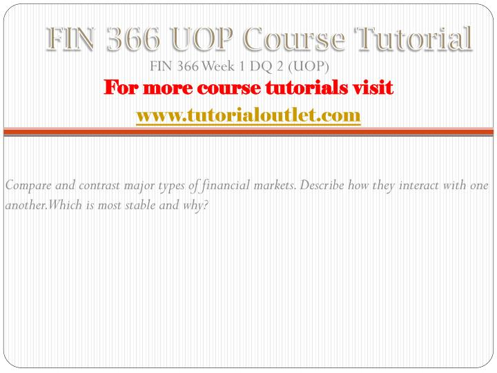 FIN 366 UOP Course
