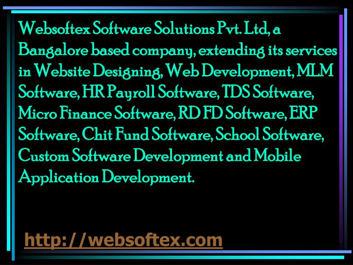 Websoftex Software Solutions Pvt. Ltd, a Bangalore based company, extending its services in Website Designing, Web Development, MLM Software, HR Payroll Software, TDS Software, Micro Finance Software, RD FD Software, ERP Software, Chit Fund Software, School Software, Custom Software Development and Mobile Application Development.