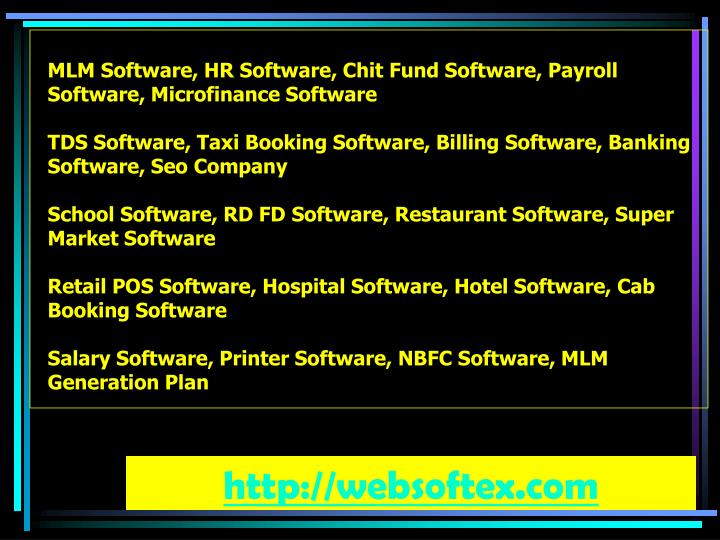 MLM Software, HR Software, Chit Fund Software, Payroll Software, Microfinance Software