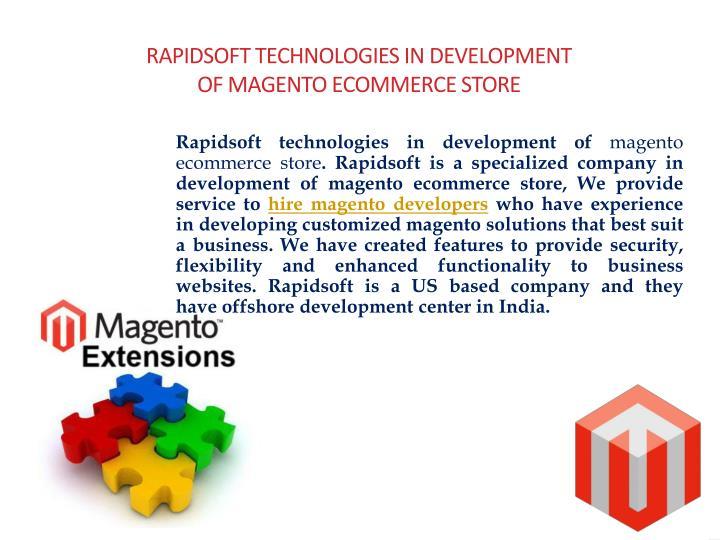 Rapidsoft technologies in development of